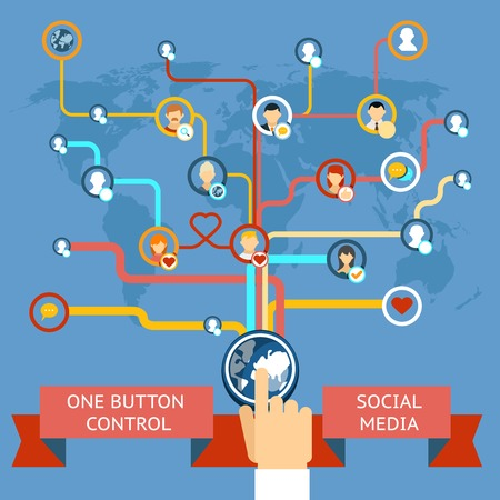 sincronizacion: El social media marketing Vectores