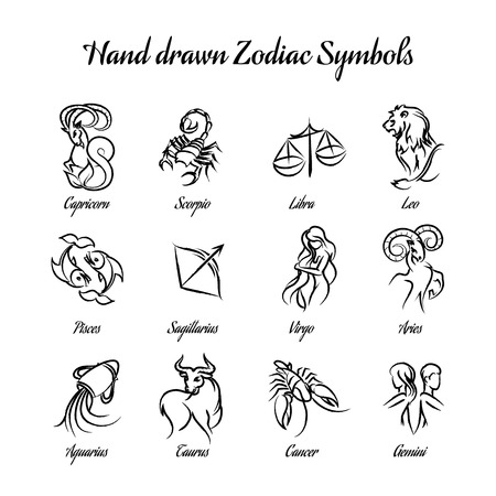 lion dessin: Hand drawn symboles du zodiaque astrologique ou horoscope signs Illustration