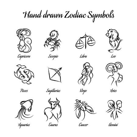 astrologie: Hand gezeichnet astrologische Tierkreiszeichen oder Horoskop Zeichen