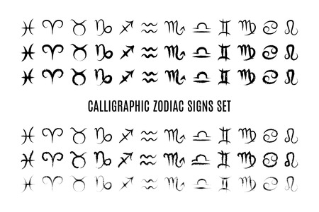 Calligraphic zodiac sign set Vector