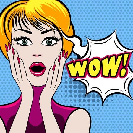 sorprendido: Cara de la mujer sorprendida con el WOW burbuja