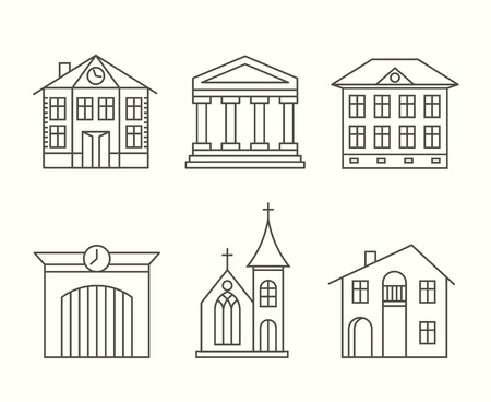 church group: House building icons set in line style