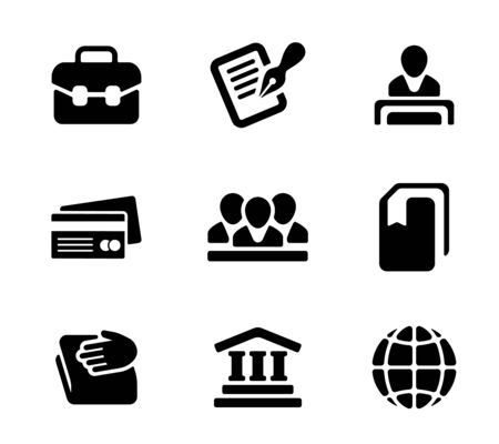 commercial activity: Financial activity and business staff flat icons set