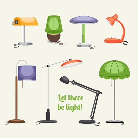 Furniture. Floor lamp and table lamps Vector