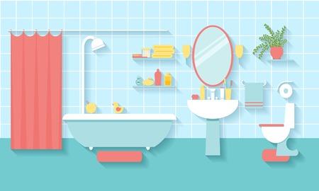Bathroom interior in flat style Vettoriali