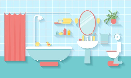 bath room: Bathroom interior in flat style Illustration