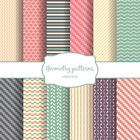 Seamless vector geometric lines and rhombus color pattern backgrounds Illustration
