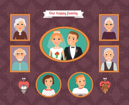Family portrait. Wall with family photo frames