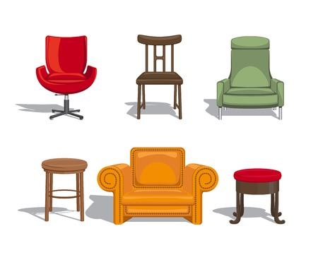 Chairs, armchairs, stools icons Vector