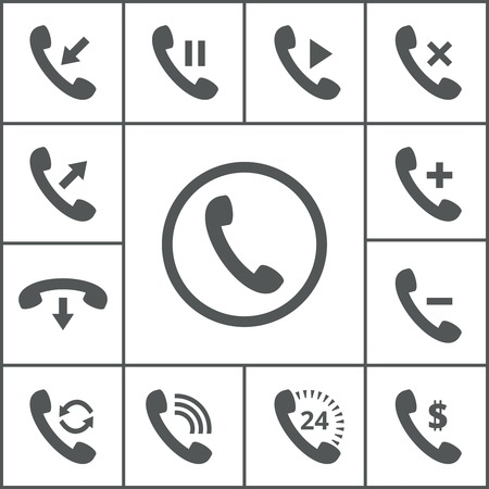 telephone: Set of handset icons. Phone and symbol, telephone and sign, call and forwarding. Vector illustration