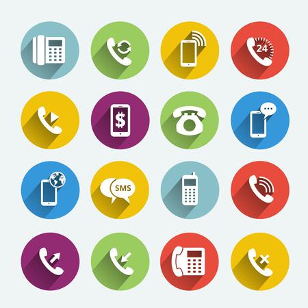 Phone handset flat icons Vector