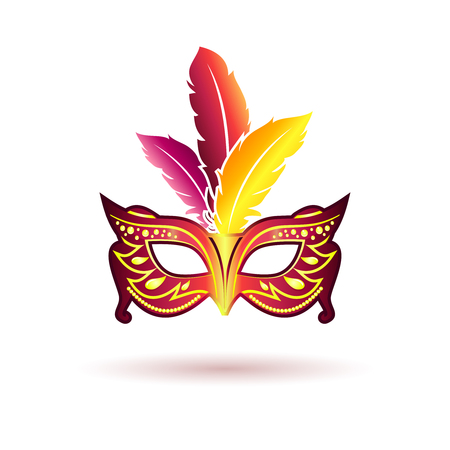 iridescent: Vector carnival mask with feathers Illustration
