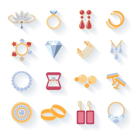 cuff links: Earrings, rings, cufflinks and necklaces flat icons Illustration