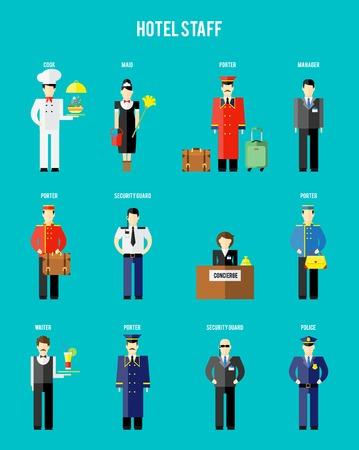 meseros: Personal del hotel vectoriales