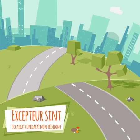 Urban landscape with road and low poly trees on green grass Illustration