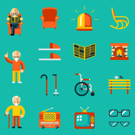 health elderly: Elderly people icons Illustration