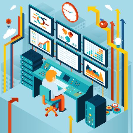 Financiële analytics en business analyse Vector Illustratie