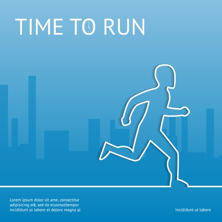 busy street: Time to run. Sport in the city Illustration