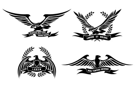 eagle shield and laurel wreath: Eagle heraldic labels with laurel wreaths, shields and ribbons