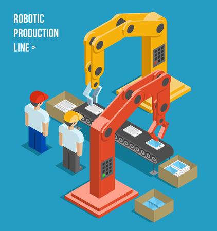 robot: Robotic linia produkcyjna Ilustracja