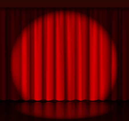circus stage: Spotlight on stage curtain