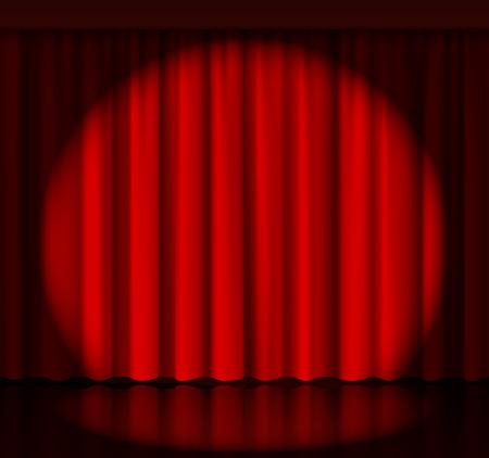 cortinas rojas: Spotlight telón en el escenario Vectores