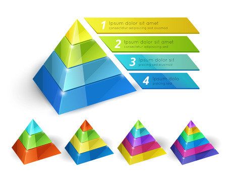 Pyramid chart templates Vector