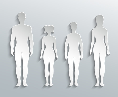 naked male body: Human silhouettes Illustration