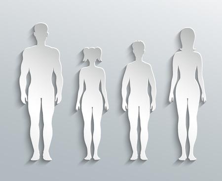 hombre desnudo: Siluetas humanas Vectores