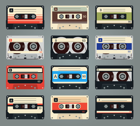 compact: Set of vector retro audio cassettes Illustration