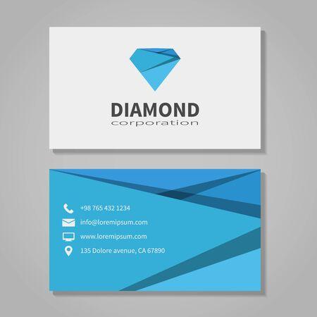 corporation: Diamond corporation business card template Illustration