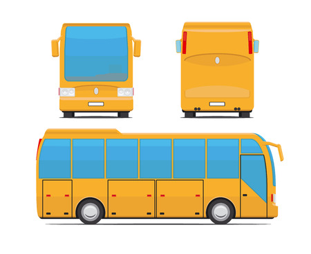 bus tour: Yellow bus vector illustration