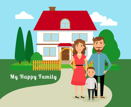 Happy family near house