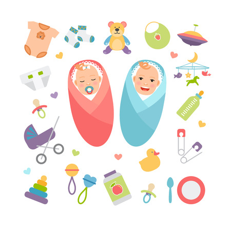 baby with spoon: Vector babies and baby products
