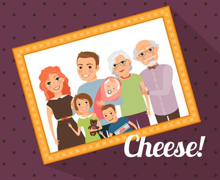 famille: Photo de famille portrait Illustration