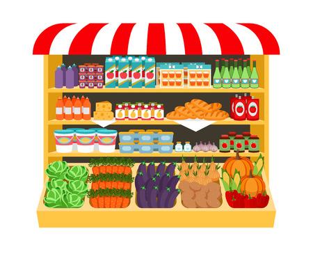 スーパー マーケット。棚の上に食べ物