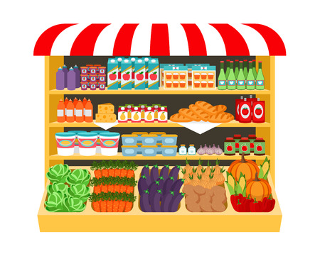 shelf: Supermarket. Food on shelves
