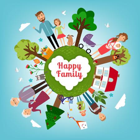 parejas felices: Familia feliz en toda la tierra Vectores
