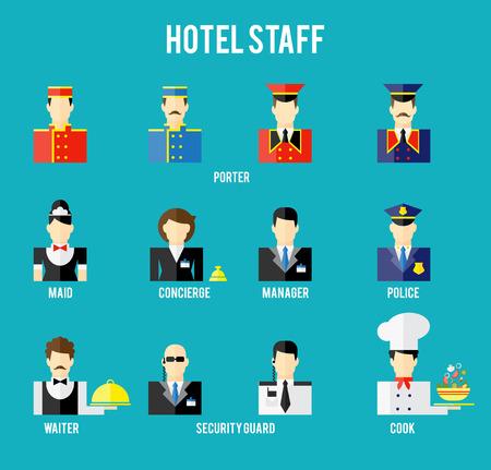 seguridad en el trabajo: Personal del hotel vectoriales