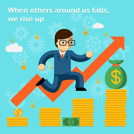Asunto cada vez mayor en concepto de la crisis financiera. Cuando los demás se cae, nos levantamos Ilustración de vector