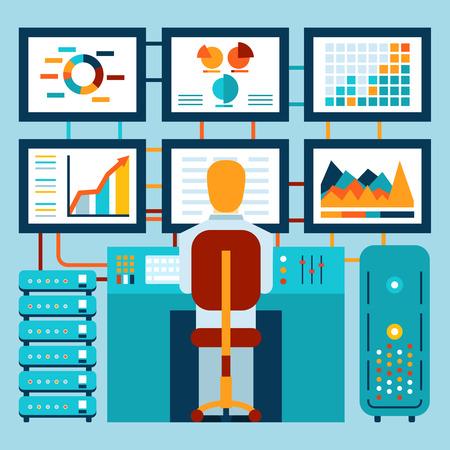 corredor de bolsa: Análisis de la información en el tablero Vectores
