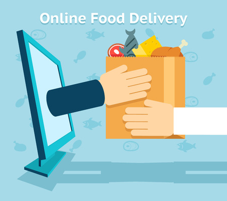 paper delivery person: Online food delivery Illustration
