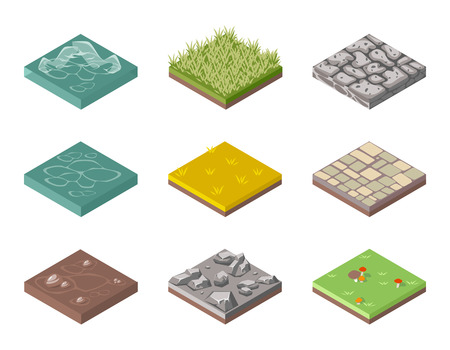 Ground surfaces. Grass, rocks and water Illustration