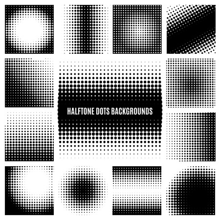 Halftone dots backgrounds Vectores