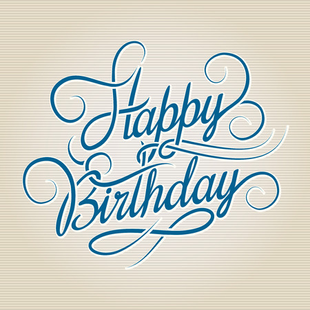 vintage card: Happy Birthday hand drawn lettering