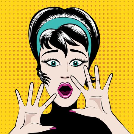 Scared pop art woman  イラスト・ベクター素材