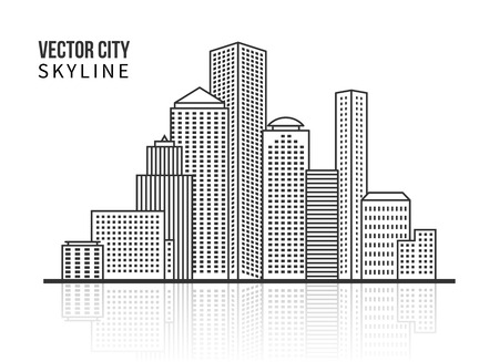 business district: City skyline silhouette in line style Illustration