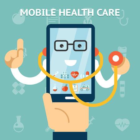 monitoreo: Cuidado de la salud m�vil y concepto de la medicina Vectores