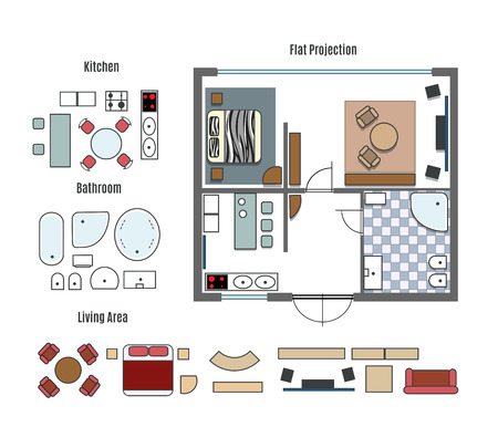 the project: Vector projection and furniture icons Illustration