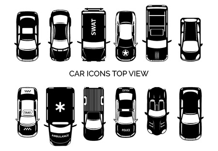 Car icons top view 矢量图像
